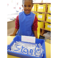 Writing our name in shaving foam