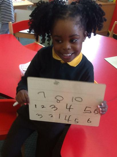 Emma can write numbers from 1 to 10.