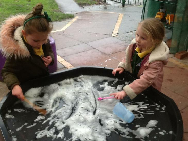 Mixing bubble mixture.