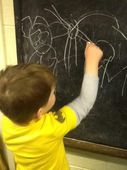 Wiktor drawing characters.
