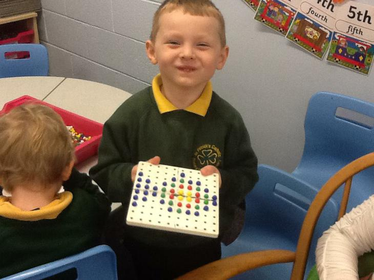 We created patterns using pegs.