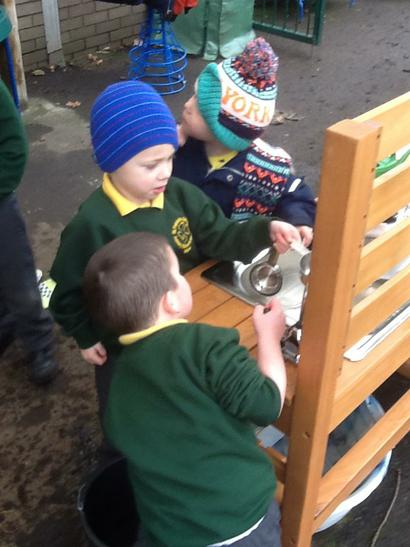 We explored our new Mud Kitchen.