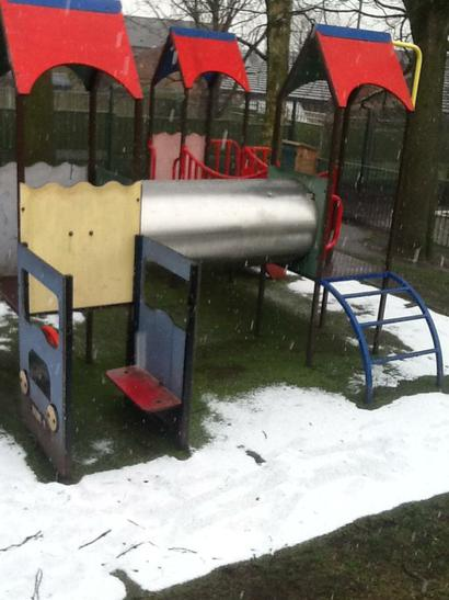 Snow fell onto our Nursery climbing frame.