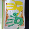 Keenan's family hand prints.