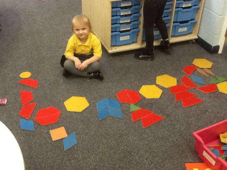 We used shapes to make Chinese Dragons.