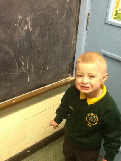 Proud of his chalking!