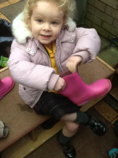 I have chosen pink wellies today!