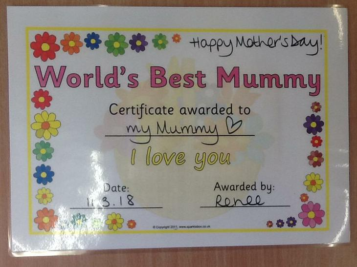 'World's Best Mummy' Certificate!
