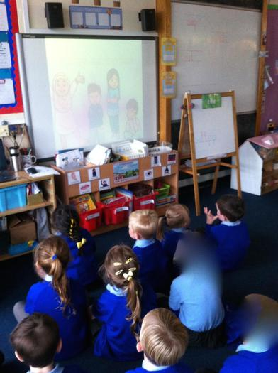 Watching a powerpoint about feelings.