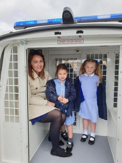 Having a turn in the Police Van!