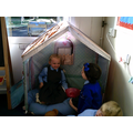 Making friends in our reading area.