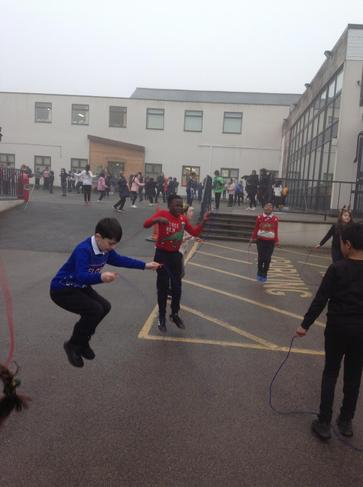 The children took part in Mr Fiddler's Skipathon. They have been improving their skipping.