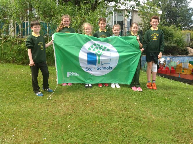 The Eco Committee with our Green Flag