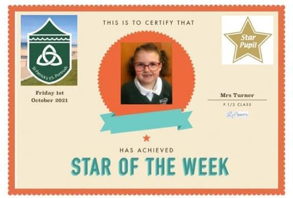 Congratulations to our P1/2 Star Pupil!