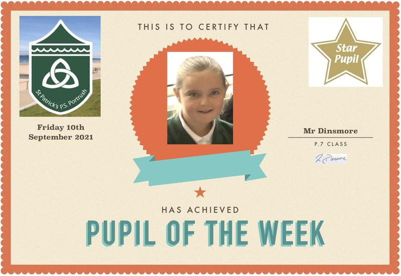 Well done to our P.7 star of the week