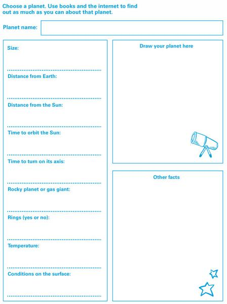 Play the 'What planet am I?' game with friends and family. Tell them facts about your plan
