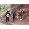 James,Luca and Mia looking at basalt and laterite.