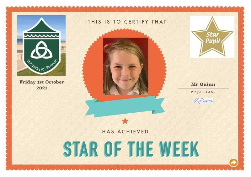 Congratulations to our P5 Star Pupil!