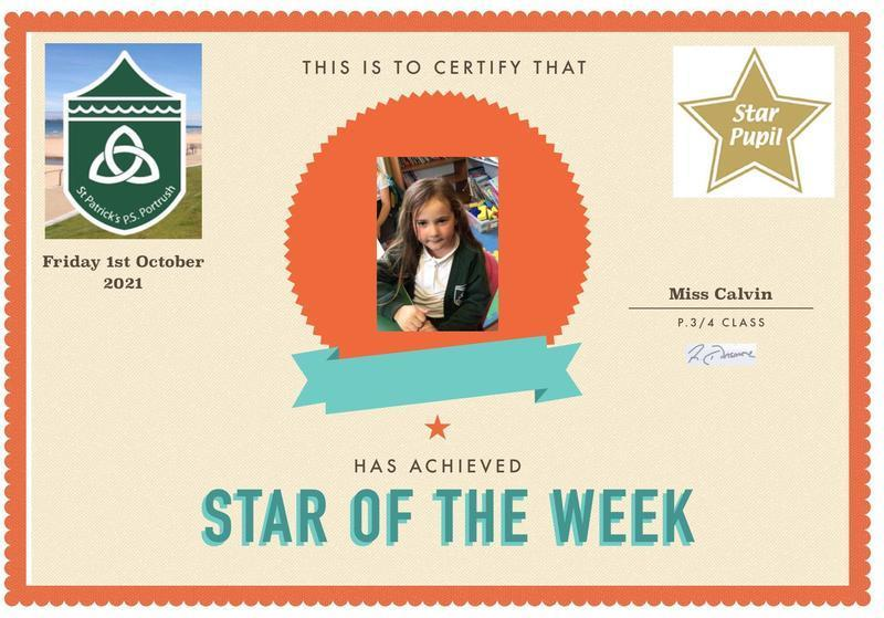 Congratulations to our P3 Star Pupil!