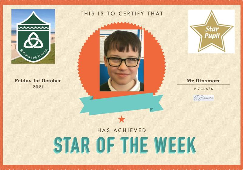 Congratulations to our P7 Star Pupil!