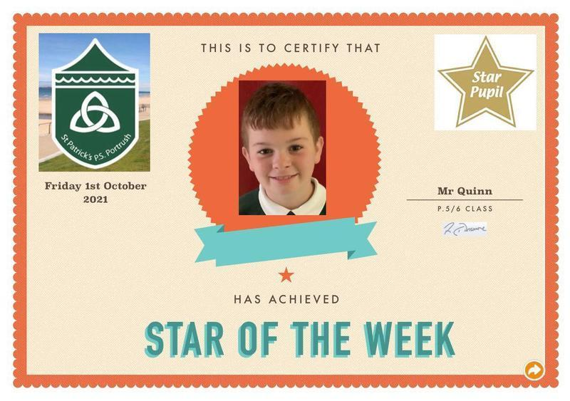 Congratulations to our P6 Star Pupil!