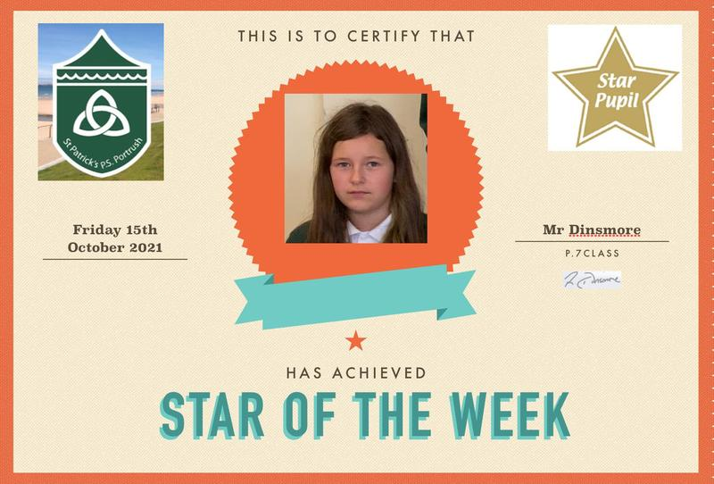 Well done to our P.7 star this week