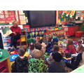 Mrs Turner reading her class a story.