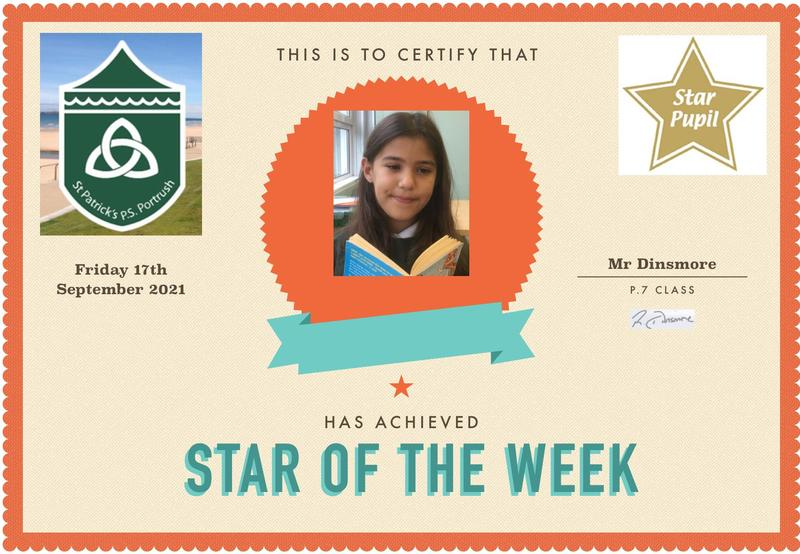 Well done to our P.7 Star of the Week!