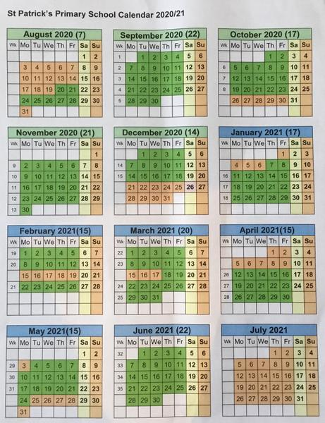 The dates in green are days pupils should attend.