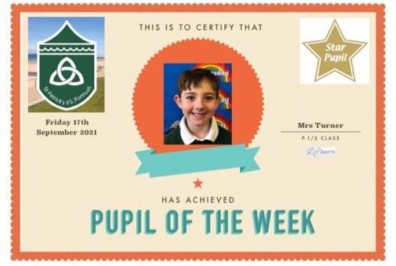 Well done to our P1/2 Star of the Week!