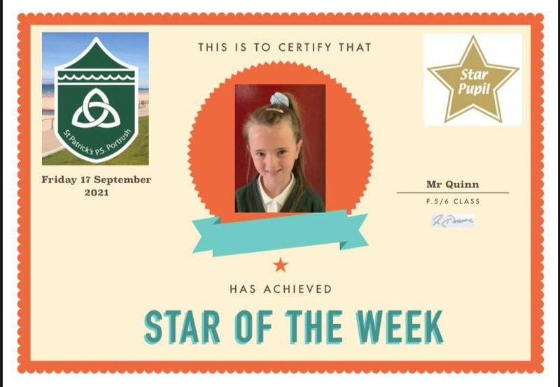 Well done to our P5 Star of the Week!