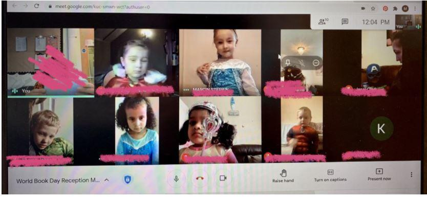 World Book Day fun at home was shared via our Google Meet session