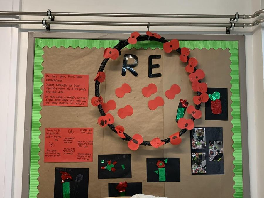 We made a wreath as part of our work about Remembrance
