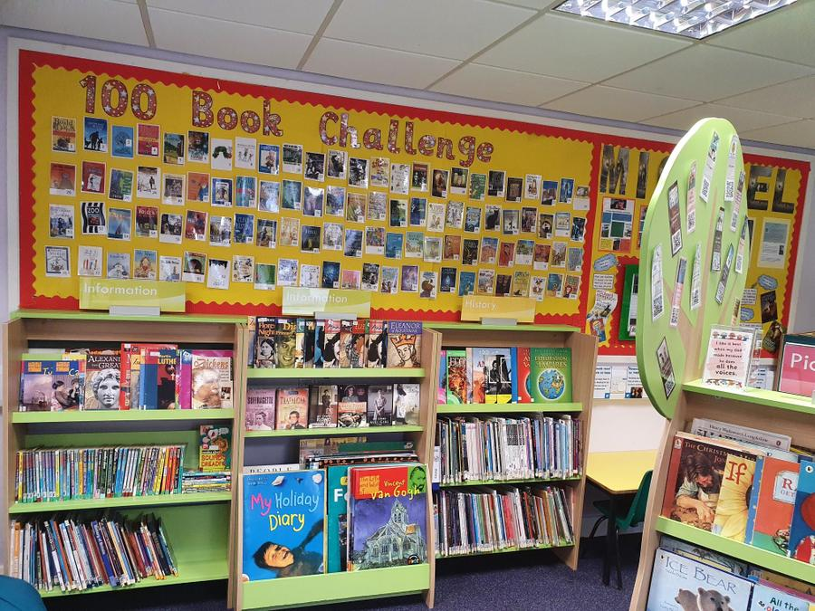 Our 100 book challenge display.