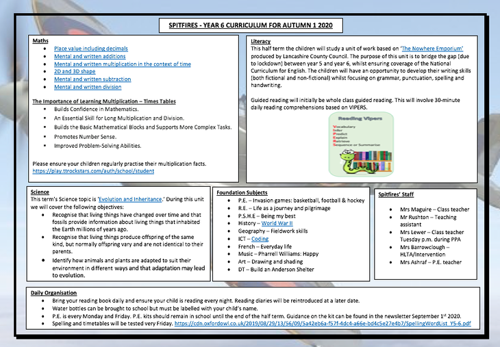 Click on the word document above to access the hyperlinks.