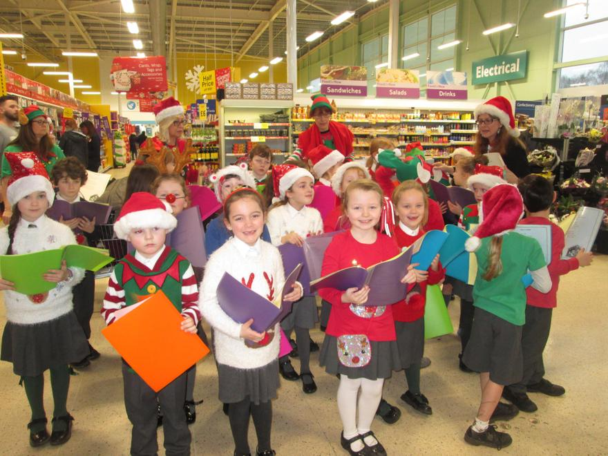 Singing at Tesco for Zoe's Place