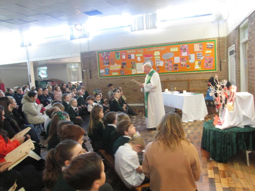 We celebrate mass with our parish community