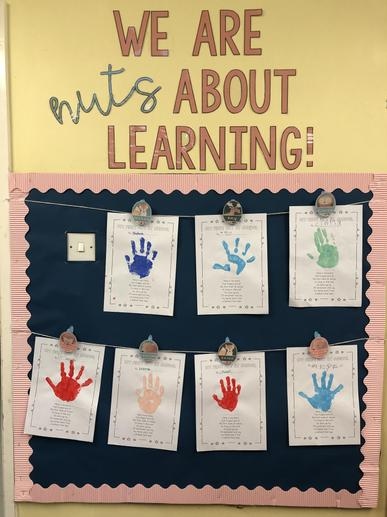Our first week of school handprints and poem :)
