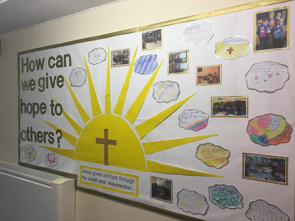 Our corridor display about giving hope.