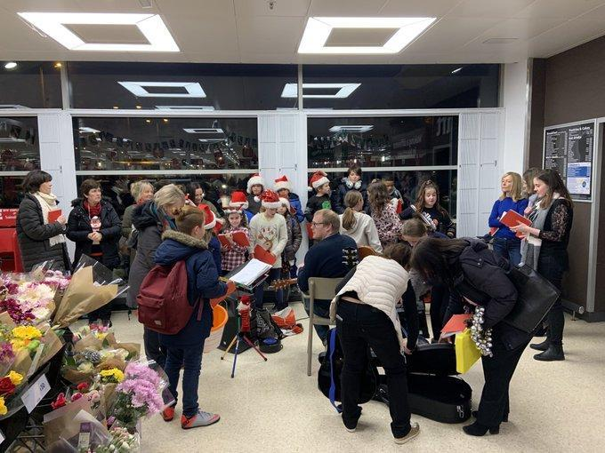 Singing for charity in Sainsburys