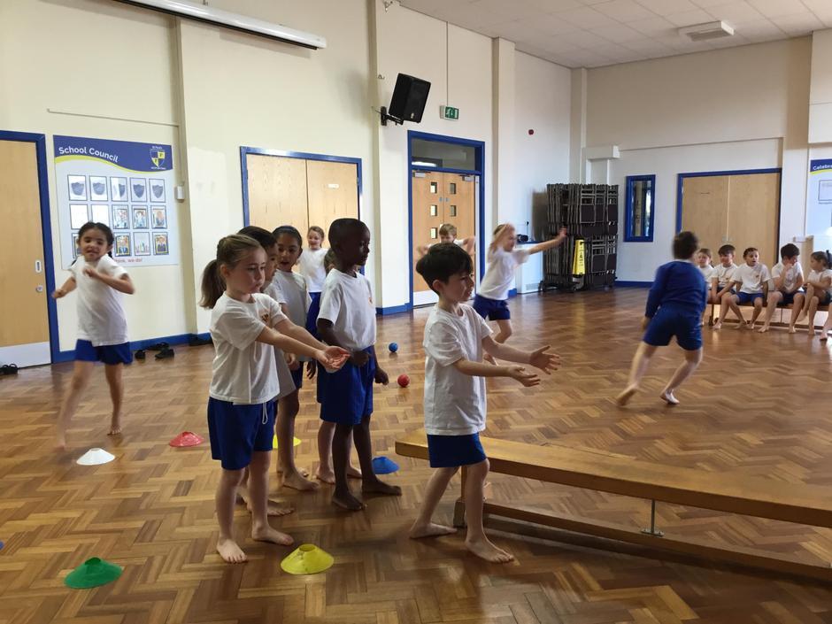 Practising skills in PE