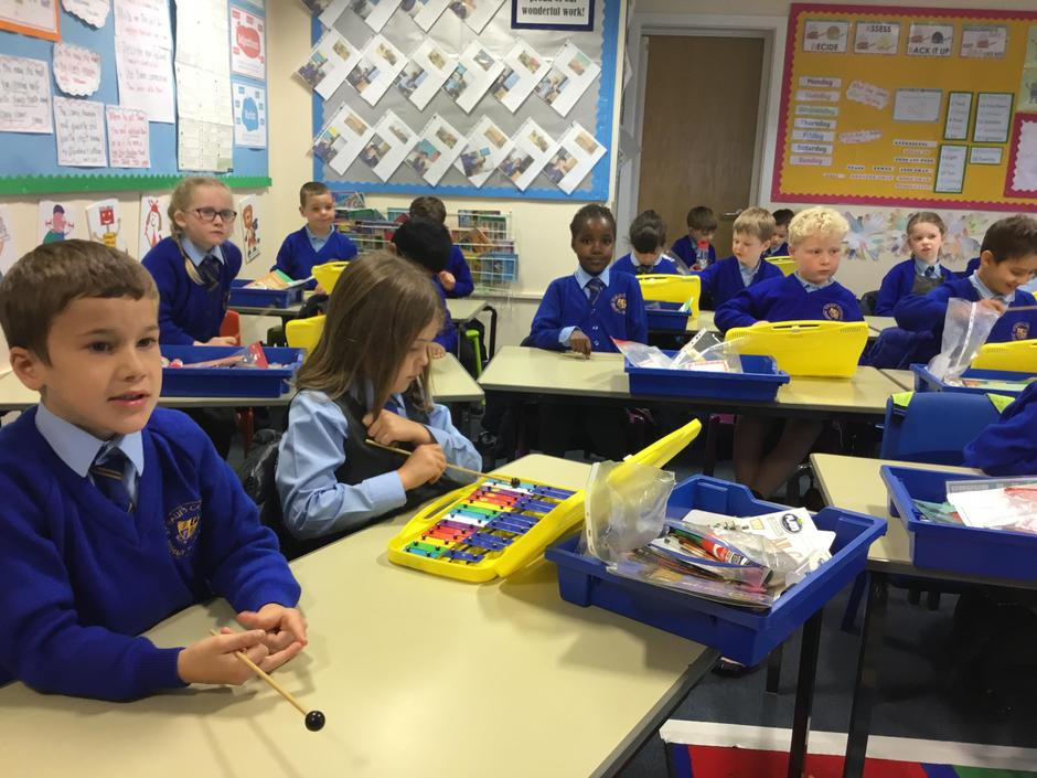 Playing the glockenspiels in Music