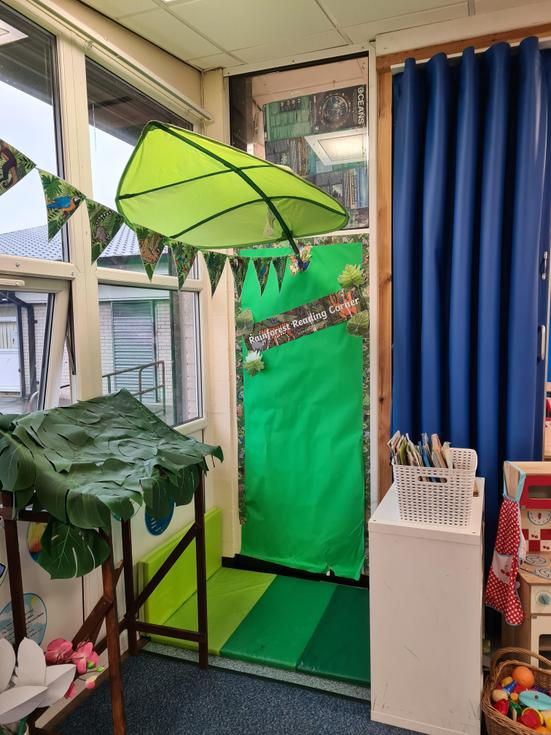 Our rainforest reading area.