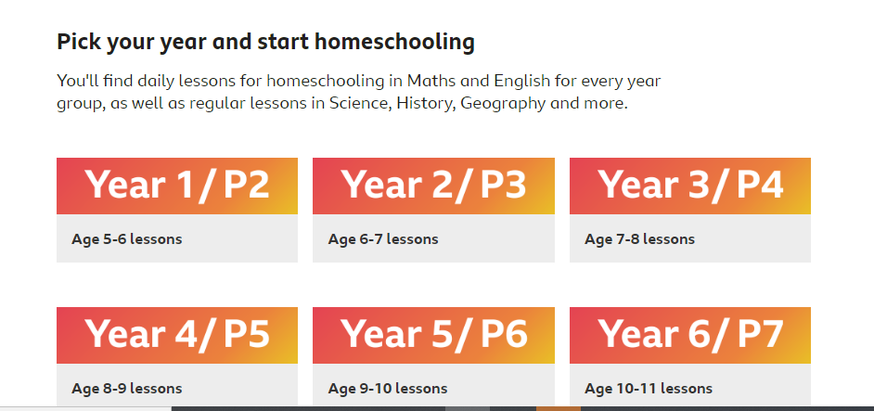 Bitesize has daily lessons for all ages