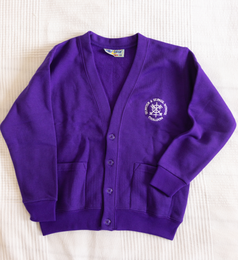 Purple cardigan with logo  Age 3/4, 5/6, 7/8—£10.25