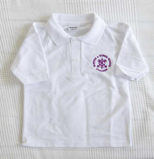White heavyweight polo shirt with logo Age 3/4 5/6 7/8 9/10 £7.15