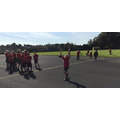KS2 being challenged to  catch the ball