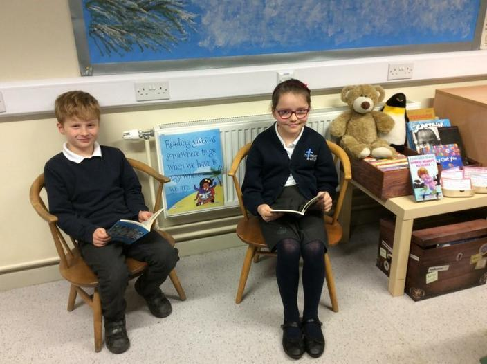In cosy chairs with Clifton Bear and Peter Penguin
