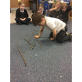 Making Stick Men with sticks brought in from home