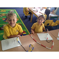 Showing numbers on a bead string.